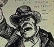 A plug hat worn by a rowdy Irishman in a 19th-century Thomas Nast stereotyped caricature similar to the ones worn by the Plug Uglies.